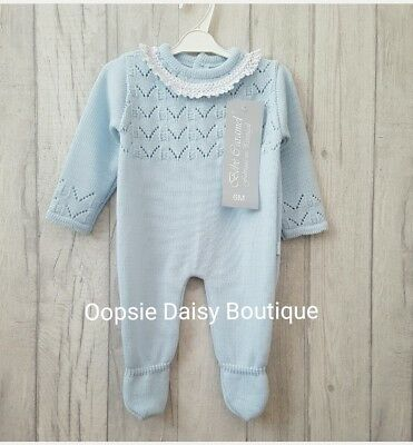 ☆ Baby Girls Gorgeous Spanish Knitted Romper with Lace Frill Collar size 6mth ☆