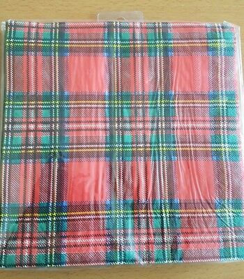 Red Tartan Scottish Design Paper Napkins /Serviettes x 20
