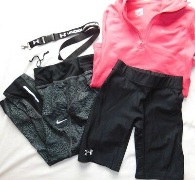 Womens Lot (4) Fitness Lot UNDER ARMOUR & NIKE Capri Pants Hoodie & More Sz XS