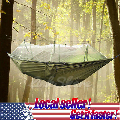 TX LOCAL 2 Person Travel Outdoor Camping Hanging Hammock Bed With Mosquito Net