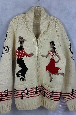 HANDKNIT Chunky Wool Vintage Cardigan Sweater Full Zipper Front  Square Dance XL