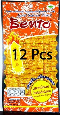 12 x 5 g. Bento Squid Seafood Thai Seasoned Snack Namprik Thai Original Flavor