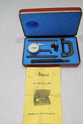 Vintage Central Tool Co Universal Dial Test Indicator Original Boxes 200 Or 201