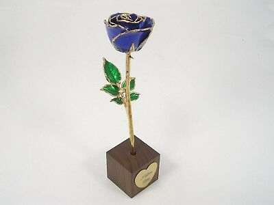 """8"""" 24k Gold Trimmed Blue Rose In """"I Love You"""" Stand (Free Anniversary Gift Box)"""