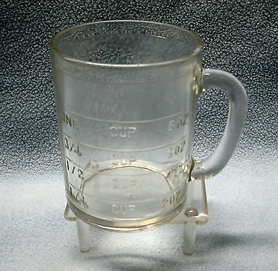 Vintage Hazel Atlas Clear Depression Glass Dry One Cup Measuring Cup
