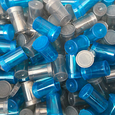 100 x 6 Dram Pop Top Pots + RX Labels Blue & Grey mix Squeeze Tops Poptop Vial