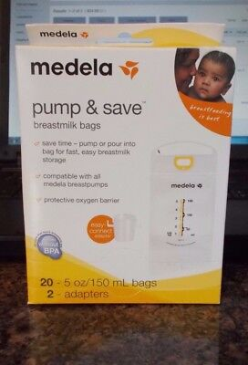 Medela Pump & Save Breastmilk Bags, 20ct + 2 Adapters
