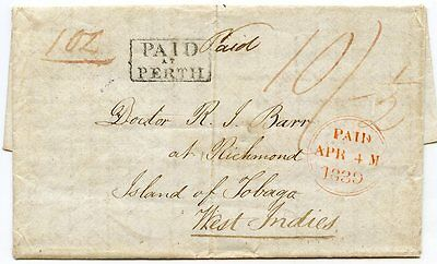 """1839 SCARCE entire """"PAID AT PERTH"""" h/s sent to TOBAGO, West Indies."""