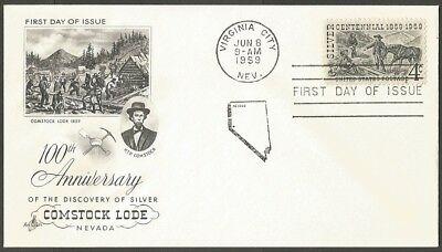 Us Fdc 1959 Silver Centennial 4C Stamp Ac First Day Of Issue Cover Virginia City