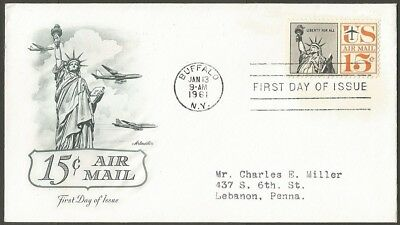 Us Fdc 1961 15C Air Mail Stamp Artmaster First Day Of Issue Cover Buffalo Ny