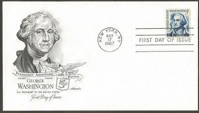 Us Fdc 1967 George Washington 5C Stamp Artmaster First Day Of Issue Cover Ny
