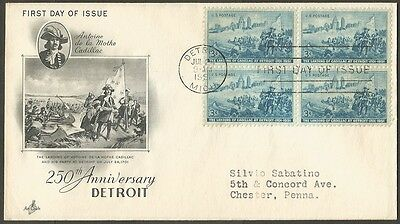Us Fdc 1951 The Landing Of Cadillac At Detroit 3C Stamps First Day Of Issue Cvr