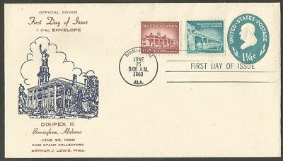 Us Fdc 1960 Dixipex Iii 1 1/4C Embossed Stamped Env First Day Of Issue Cover