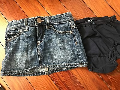 Baby Gap 1969 Toddler Girl Jean Mini Skirt 12-18 Months With Adjustable Straps