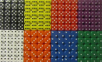 50 x Opaque 10mm Six Sided Spot Dice D6 RPG Games New (D061)