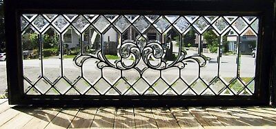 Victorian Beveled Glass Transom Window With Glue Chip