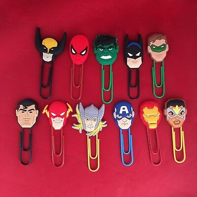Marvel / DC Cartoon Paperclip Bookmark- Thor Batman Superman Hulk Flash - NEW