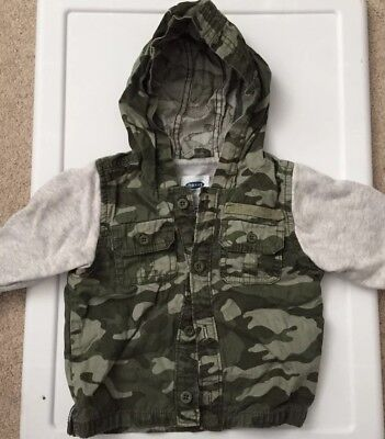 TODDLER Camouflage Hooded Sweatshirt Jacket, 12-18 Months, Green/Gray, Old Navy