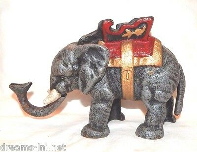 ELEPHANT MECHANICAL COIN BANK Cast Iron Detailed Look! Jumbo Circus Ringling
