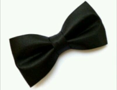 Classic black satin bow tie elastic attachment kids toddler baby FAST SHIPPING