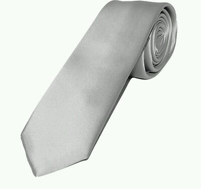 Silver light gray satin tie for kids toddler baby FAST SHIPPING!