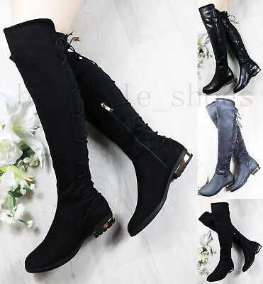 Ladies Fur Lined Knee High Boots Lace Up Thigh Stretch Low Flat Heel Shoes Size