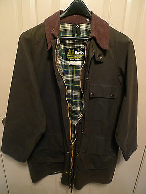 Barbour- A98 Solway Zipper  Waxed Cotton Jacket- Made In England- Olive- Size 42