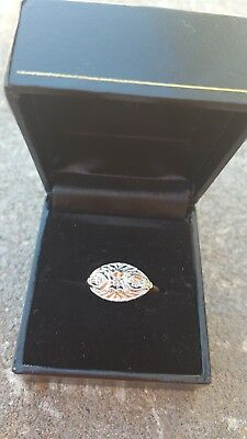 ladies vintage 14 k yellow and white  gold diamond  ring size 5