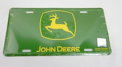 NEW GENUINE John Deere Yellow Logo Green Embossed Metal License Plate Tag SEALED