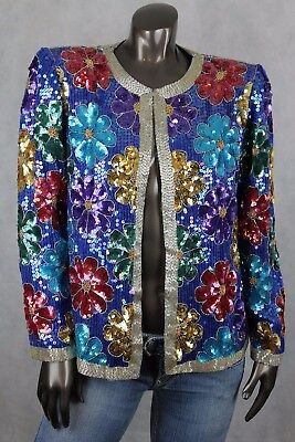 Vintage Womens Sequin Formal Evening Jacket Floral beaded Open Front Size M
