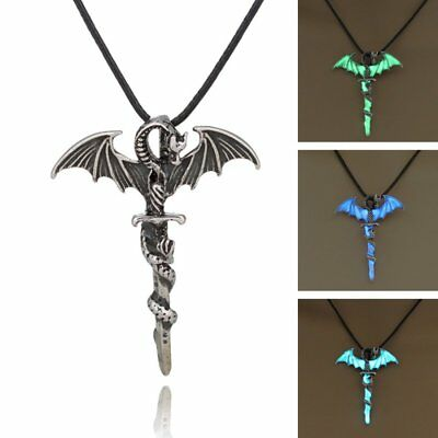 Vintage Luminous Glow In The Dark Cross Dragon Pendant Necklace Chian Jewelry