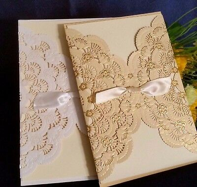 Laser Cut Wedding Invitations Embossed Ivory Gold Sleeve Cards Envelope Invites