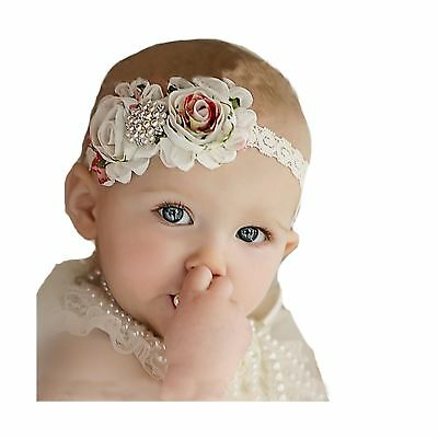 "Miugle Baby Girl's Lace Headbands with Shabby Chic Bows,14"" Girth"