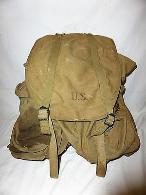 Vintage WORLD WAR II WW2 BACKPACK Knapsack STEEL FRAME 1943 Avery