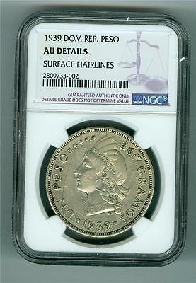 Domincian Republic 1939 Peso Ngc Au Details Surface Hairlines. Scarce Type
