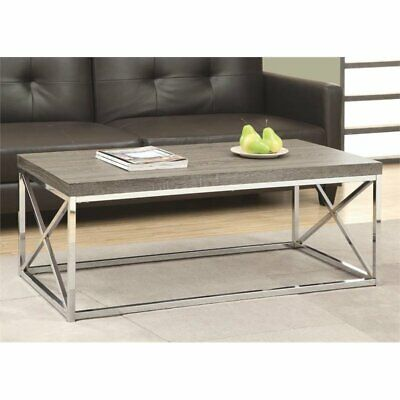 Monarch Coffee Table in Dark Taupe and Chrome