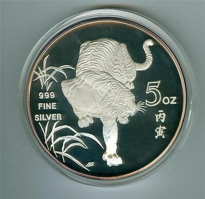 Singapore 1986 5 Oz. Year Of The Tiger .999 Fine Silver Medal Proof