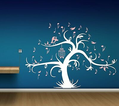 Giant Bird Cage Music tree Wall Sticker Removable Kids Home Decor Room Decals