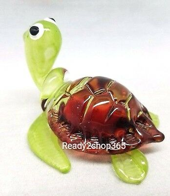 Sea Turtle Hand Blown Glass Amphibian Figurine Animal Miniature Craft Handmade