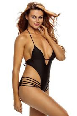 6486668056723 Sexy Black Summer Beach Cut-Out Plunge Monokini One Piece Swimsuit SZ: SMALL