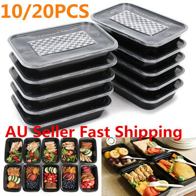 10/20Pcs 16oz Meal Prep Food Containers with Lids Reusable Microwavable Plastic