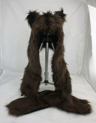 15f6554c52210 Brown Bear Faux Fur Animal Hood Hat with Scarfs Mittens Paws Spirit 3 in 1