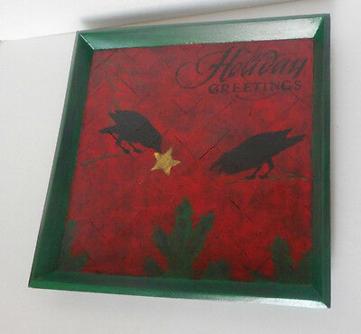 """hand painted wood picture wall hanging """" Holiday Greetings"""" black crow red green"""