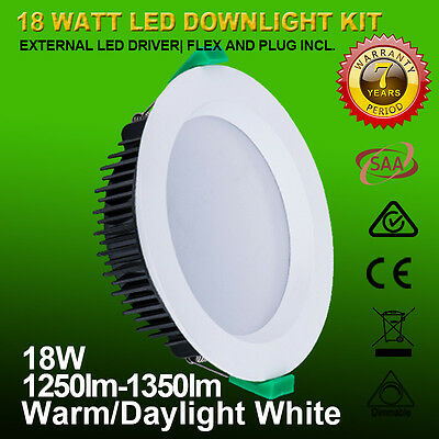 6 x 18W Recessed Ceiling White Lamp LED Downlight Kit 120mm Cutout Warm/Cool Dim