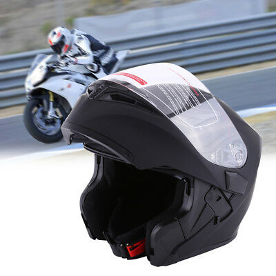 Large Full Open Face Flip Up Front Helmet Motorcycle Motorbike Racing Road Black
