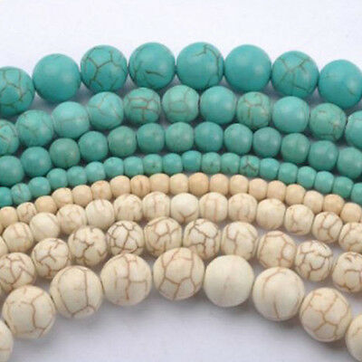 20-100Pcs Howlite White/Blue Turquoise Gemstone Round Loose Beads 4/6/8/10MM