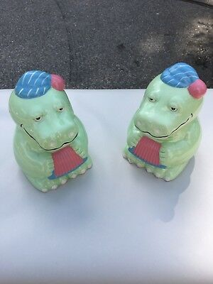 A Pair of Green Alligator Banks, Ceramic, great condition.