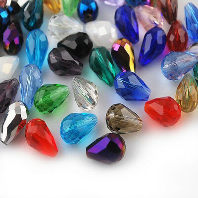 50pcs Faceted Glass Crystal Charms Findings Teardrop Spacer Loose Beads 8x6mm