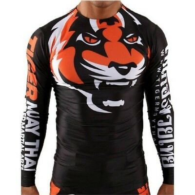 Elastic Tiger Muay Thai MMA Fight Boxing T Shirt Martial Art Sports Rash Guard