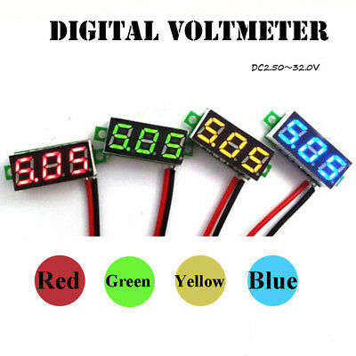 Mini DC0-30V LED 3-Digital Diaplay Voltage Voltmeter Panel Meter With 2 Wires HQ